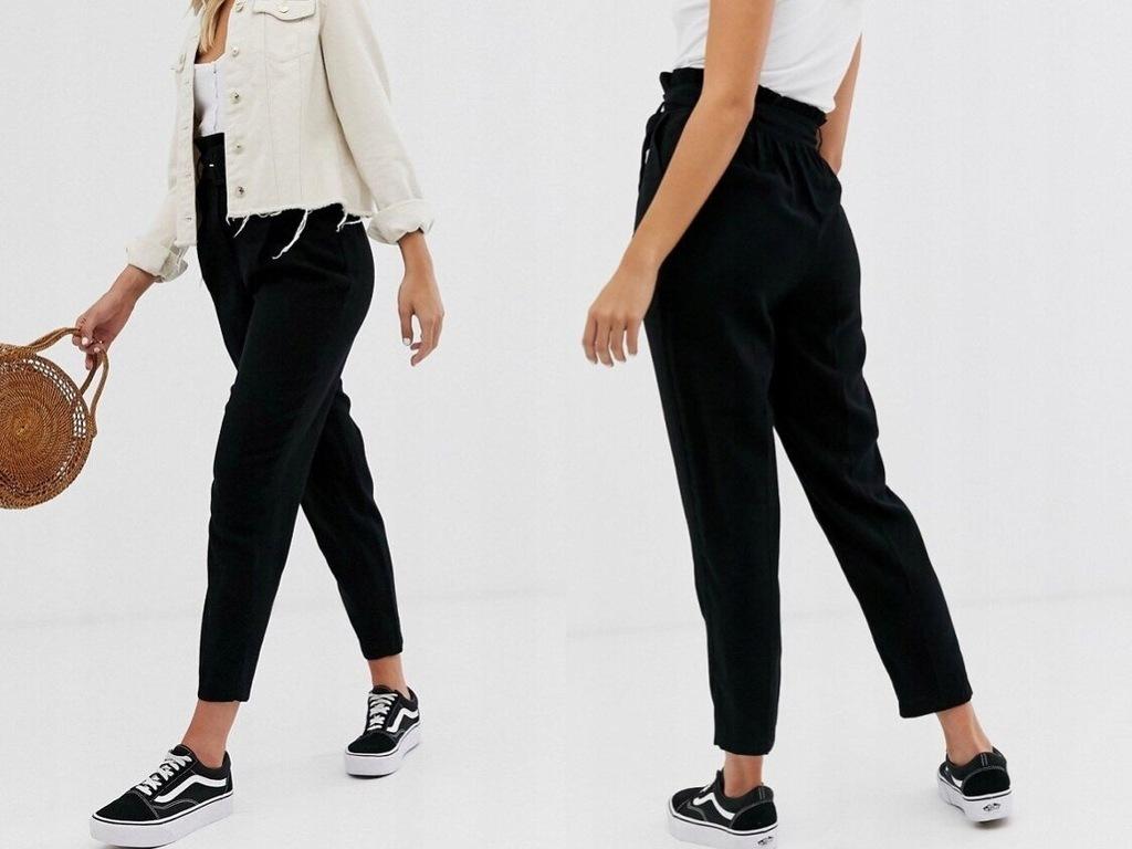 New Look Czarne Spodnie z Paskiem XXS/32
