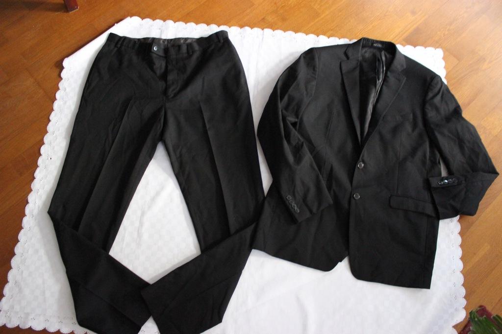 CALVIN KLEIN garnitur komplet wełna 44L