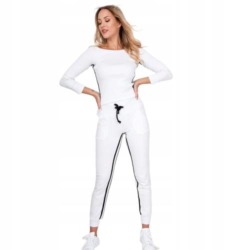 Komplet dresowy paski bawełna biały