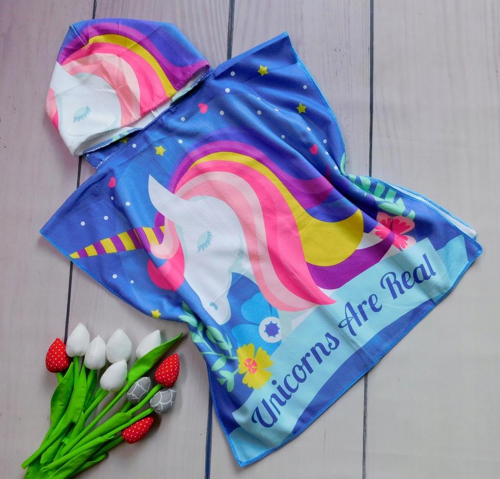 Ręcznik Ponczo dla dzieci 60x60cm PJ-15 jednorożec