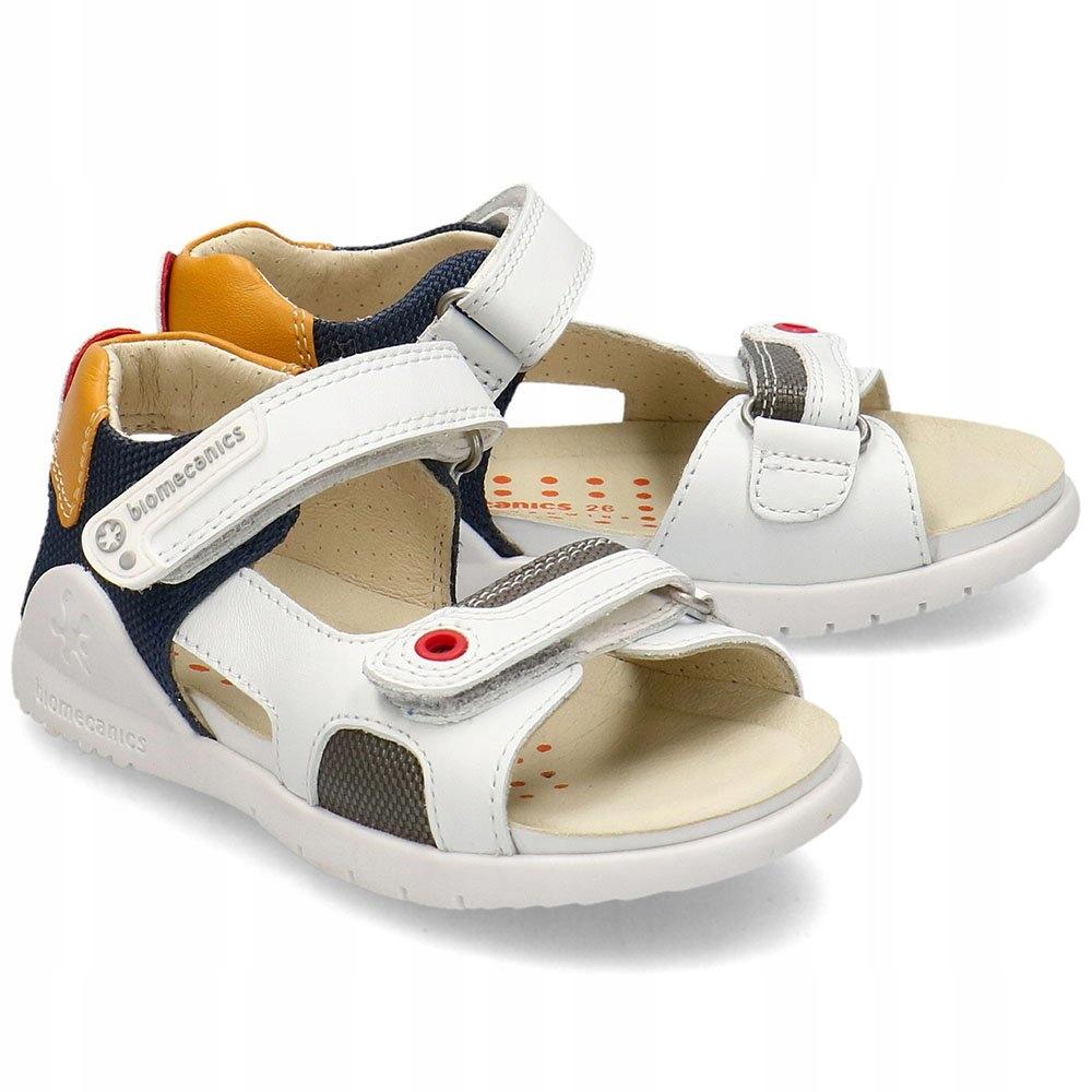 Biomecanics Białe Sandały Dziecięce Rzepy R.26