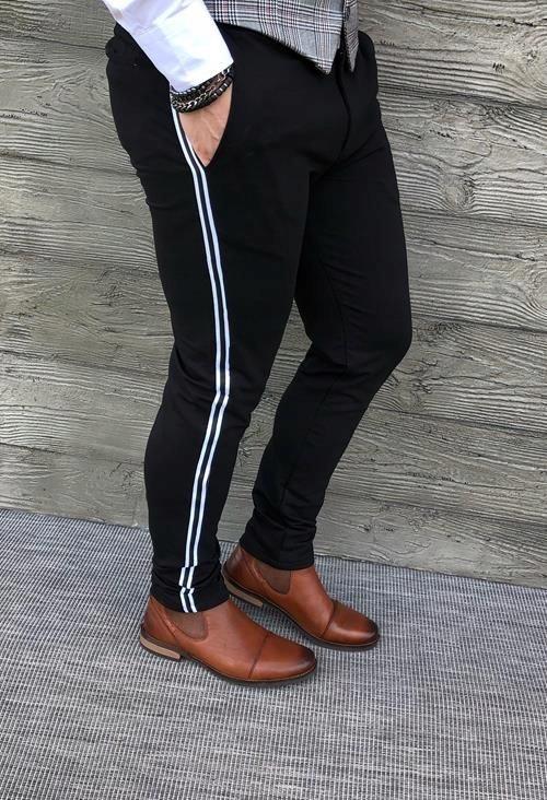 Czarne eleganckie męskie spodnie z białym lampasem