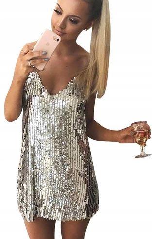 Szałowa zmysłowa sukienka na imprezę cekiny M