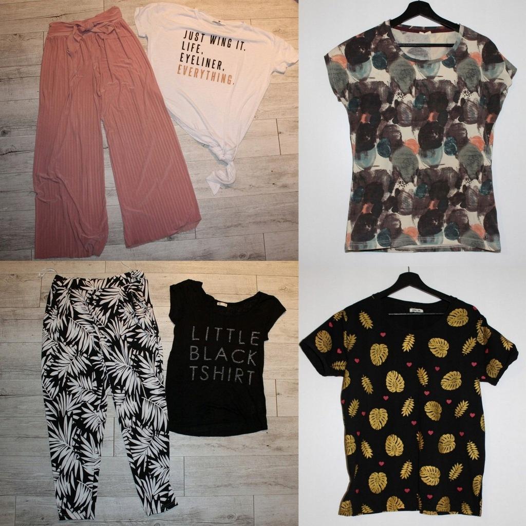 Spodnie + bluzki zestaw 6szt. - fajne napisy 38-40