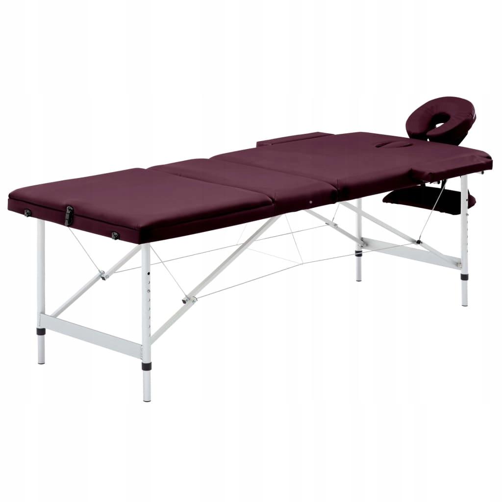 Składany stół do masażu, 3 strefy, aluminiowy, fio