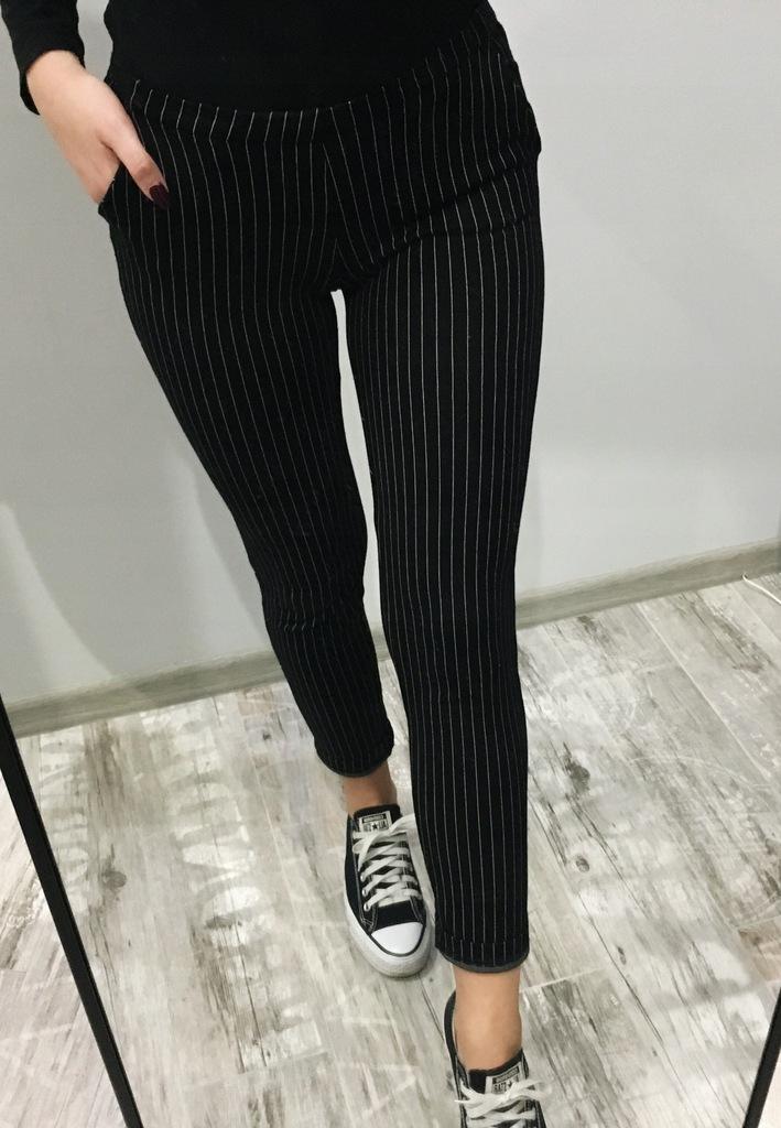 czarne spodnie w paski 36 S Sinsay