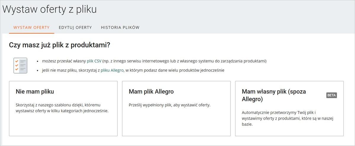 Jak Masowo Wystawic Oferty Z Wlasnego Pliku Pomoc Allegro