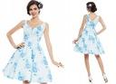 Sukienka wesele pin up retro biała niebieska XL 42 Kolor biały niebieski wielokolorowy