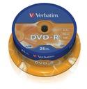 VERBATIM DVD-R 4,7GB 16x cake 25 sztuk AZO 43522