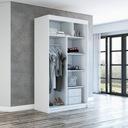 Szafa przesuwna garderoba biała + półki pax120 Wysokość mebla 215 cm