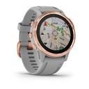 GARMIN FENIX 6S Sapphire Różowozłoty Funkcje lokalizator GPS kompas krokomierz monitor snu spalone kalorie miernik wysokości alarm datownik pomiar temperatury pomiar tętna powiadomienia o połączeniach/SMS przebyty dystans stoper wyszukiwanie telefonu zegar pomiar ciśnienia wirtualny przeciwnik