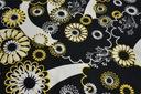 BAWEŁNA, elastan, biało czarne kwiaty. PIEGATEX Kolor wielokolorowy czerń biel żółcie