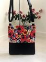 Modna torba torebka listonoszka czarna maki A4 Wysokość 33 cm