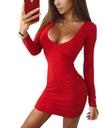 Sukienka mini piękny dekolt długi rękaw XS/S Kolor czarny czerwony różowy