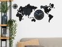 Zegar ścienny Mapa Świata 80 X 40 cm Czarna Cicha Zasilanie bateryjne