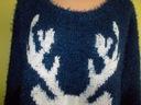 Sweter włochaty granatowy z łosiem TU ( 46 / 48 ) Rozmiar 44 (XXL)