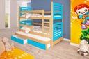 Łóżko piętrowe OLEK 3 osobowe Materiał dominujący drewno