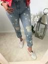 Spodnie, Jeansy Boyfriend z przetarciami S