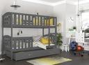 Łóżko piętrowe KUBUŚ biały + materace + szuflada Szerokość 86 cm