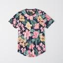 ABERCROMBIE Hollister T-Shirt Koszulka Kwiaty L Kolor wielokolorowy