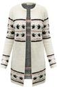 FA#002B_ Sweter Długi Ciepły Kardigan Boho Etno