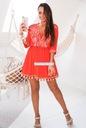 Włoska BOHO biała różowa plażowa frędzle haft S Kolor wielokolorowy biały różowy czerwony
