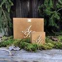 Duże Rustykalne Pudełko na KOPERTY + OBRĄCZKI mech Kolor dominujący brązowy