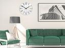 Zegar ścienny ModernClock SLIM Biało - Szary CICHY Kolor srebrny odcienie szarości biały