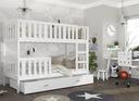 Łóżko piętrowe KUBUŚ biały + materace + szuflada Kod producenta P-KUBU-X-080-190-BIA-BIA-BIA-MP-SF