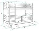 Łóżko MIKO 190x80 dla dzieci piętrowe + BARIERKA Szerokość 87 cm