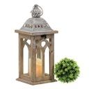 Lampion latarnia drewniana brązowa do domu ogrodu EAN 5907766640394