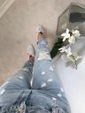 Spodnie, Jeansy Boyfriend z przetarciami S Stan (wysokość w pasie) średni