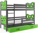 Łóżko MIKO 190x80 dla dzieci piętrowe + BARIERKA