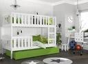 Łóżko piętrowe KUBUŚ biały + materace + szuflada Bohater brak