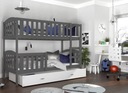 Łóżko piętrowe KUBUŚ biały + materace + szuflada Długość 198 cm
