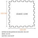 Podłoga gumowa puzzle do siłowni 15 mm CZARNA