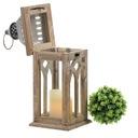 Lampion latarnia drewniana brązowa do domu ogrodu Kolor odcienie brązowego