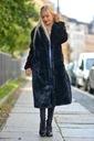 Długie futro futerko płaszcz kurtka miś Wzór dominujący bez wzoru