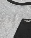 koszulka t-shirt HOLLISTER Abercrombie Logo USA L Kolor czarny szary, srebrny