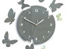 Zegar ścienny ModernClock - MOTYL- 14 Motyli SZARE Kolor srebrny odcienie szarości biały