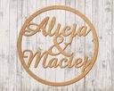 Koło drewniane 50cm napisy imiona inicjały wesele Kolor dominujący beżowy