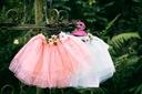 Zestaw dziewczynka spódniczka tiul lato wiosna Kolor biały różowy zielony