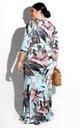 Sukienka pastelowa długa letnia w kwiaty 9026 46 Rozmiar 46