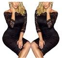 Koronkowa sukienka koktajlowa 61291 czarna S M L