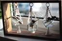 Półka z drewna kwietnik dekoracja wazonik makrama