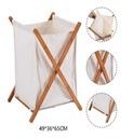 Kosz łazienkowy na pranie bieliznę Bambus Biały