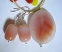 Pomarańczowo kremowe agaty i srebro, zestaw