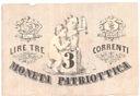 Włochy 3 LIRY, TRE LIRE 1848! Moneta Patriottica