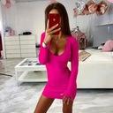 Sukienka mini piękny dekolt długi rękaw XS/S Skład materiałowy 95% bawełna 5% elastan