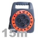 Przedłużacz zwijany w kasecie z lampką 15m 4 gn EAN 5905003007603